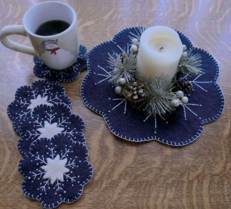 """Sew Easy, Sew Quick, Sew Pretty!"" Wool ""Snowflake""  Mug Rugs"