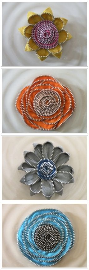 Old zippers #upcycled into cute flowers. Would work well as brooches