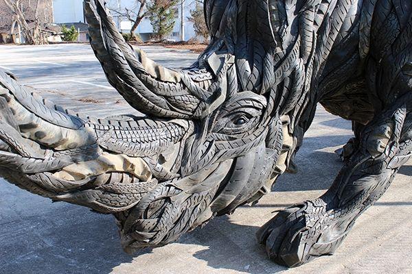 Recycled tire art by Yong Ho Ji
