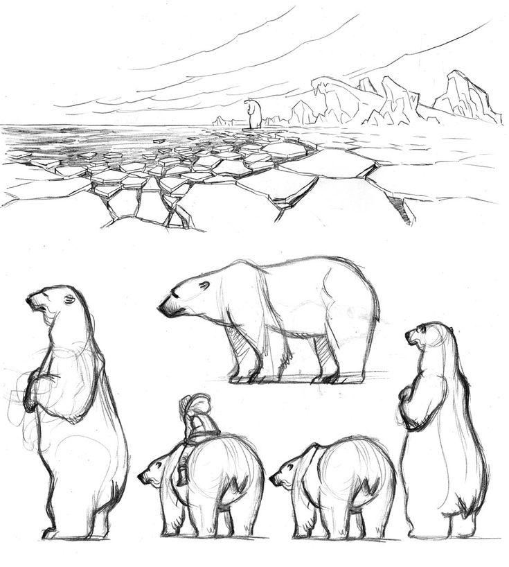 Un croquis rapide, quelques recherches pour l'ours et la version couleur. Un quick sketch, some studies for the bear and the colored illustr...