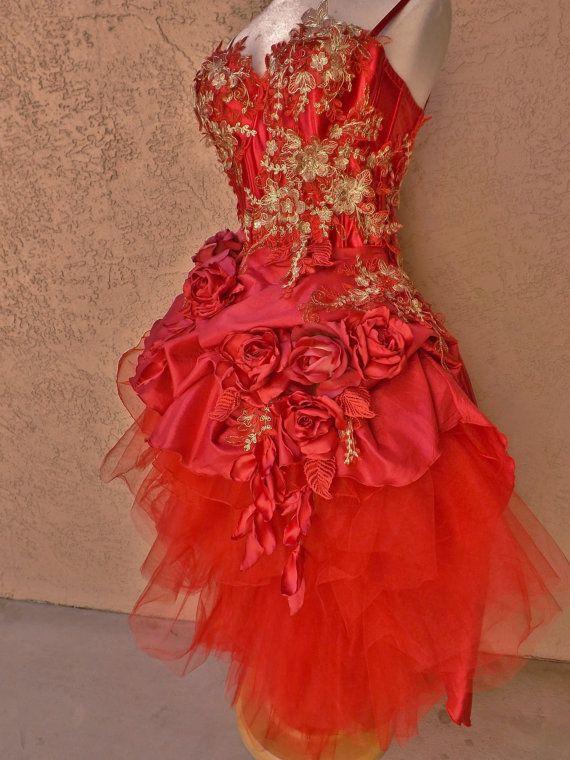 CUSTOM Red Gold Victorian Wedding Dress Mini Front by Arabescque