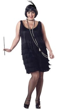 Go back in time to the age of jazz baby, jitterbug, and the gangster. Perfect for Gatsby parties! Black dress with tiers of fringe and sequin headband with feather. Gloves, boa, jewelry, cigarette hol