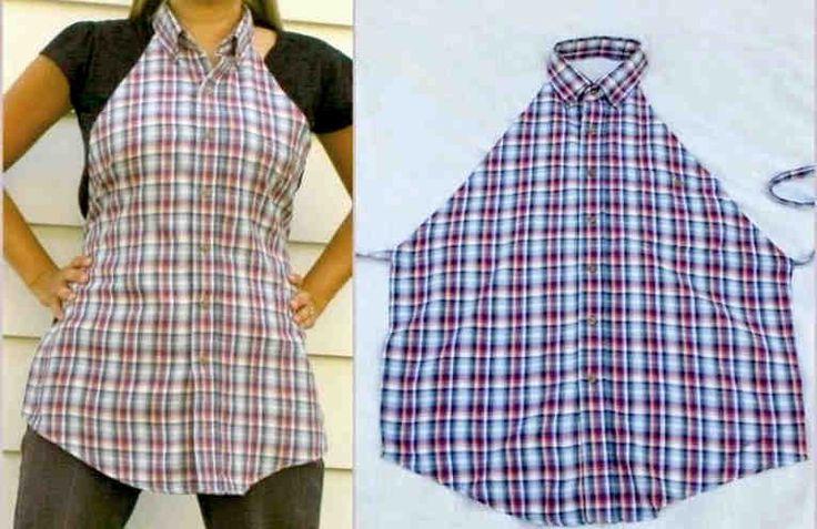 В хозяйстве обязательно найдется старая мужская рубашка в клеточку. Лучше, если она будет большого размера, тогда из неё можно быстренько сшить прекрасный кухонный фартук, который будет оригинальным, красивым и практичным.    Сделать это очень просто.  1. Возьмите рубашку, застегните все пугов