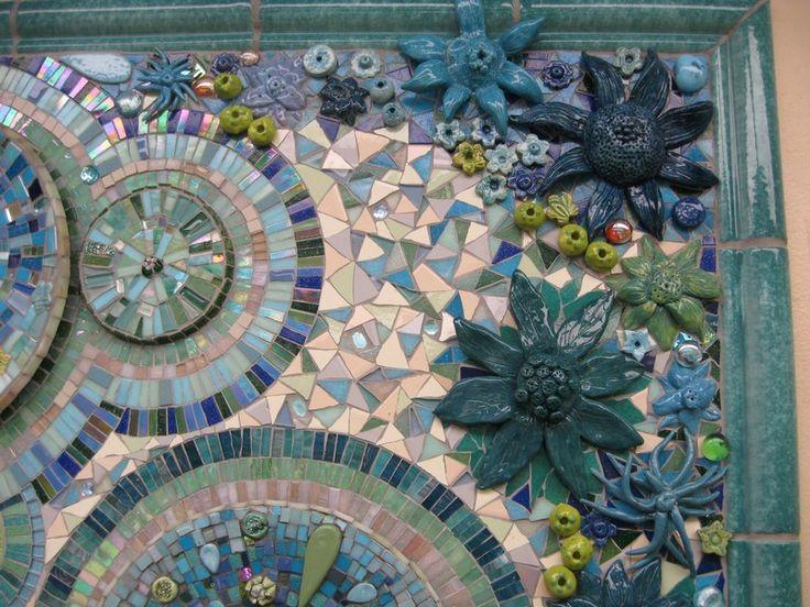 Mosaic Mural using plates, mirror and ceramics - detail