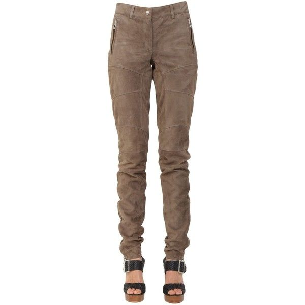 Belstaff Trousers ($715) ❤ liked on Polyvore featuring pants, tortora, brown pants, zipper pants, belstaff, brown trousers and genuine leather pants