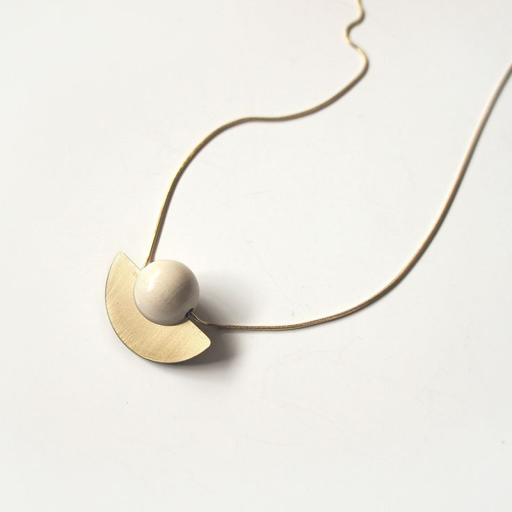 Wooden Bead and Brass Disc Necklace