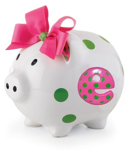 Mud Pie Baby Girl Pink Initial Ceramic Piggy Bank, Letter E $22.50