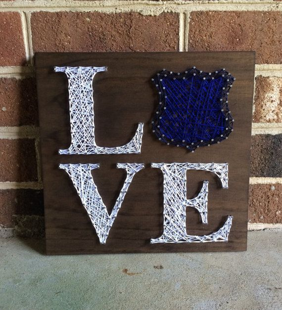 Police Love Police Support String Art Wood by CuseyCustomCrafts