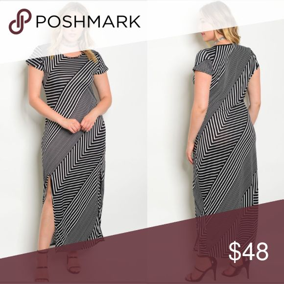 🔥PLUS SIZE MAXI DRESS STRIPE SLEEVED DRESS NOW AVAILABLE! Great flattering dress for any occasion! Wear with heels or even some oxford sneakers 👟. Has great stretch, 100% polyester. LIMITED QUANTITIES, WILL NOT LAST LONG! Don't forget to bundle with other items to save big! Dresses Maxi