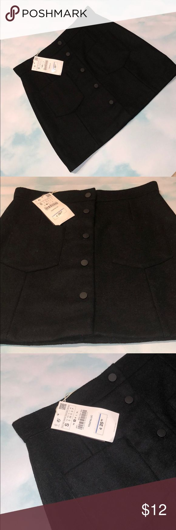 ZARA BLACK WOOL MINI SKIRT Zara Black Wool Mini Skirt With Buttons in Front and 2 Pockets. New With Tags. Size Small. Zara Skirts Mini