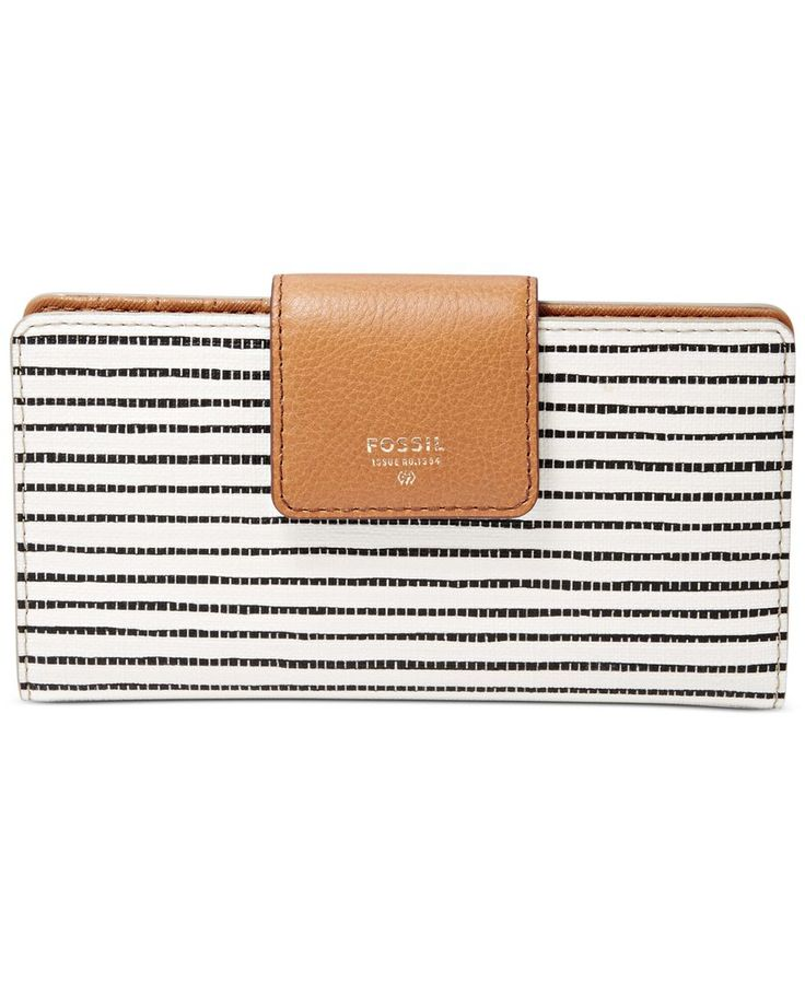 A fresh take on organization, Fossil's Sydney Tab Clutch Wallet features plenty of pockets and slots encased in a pop-printed exterior with leather trim. | Faux leather; trim: leather; lining: cotton