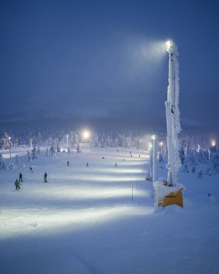 Stunning blue hours are coming. Our Pro 150W industrial LED luminaires are ready to light up the upcoming skiing season in Levi, Lapland. ❄