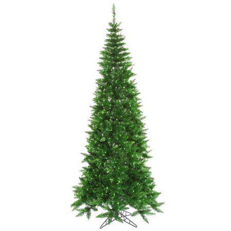 Vickerman Pre-Lit 7.5' Tinsel Green Slim Artificial Christmas Tree, Green Lights