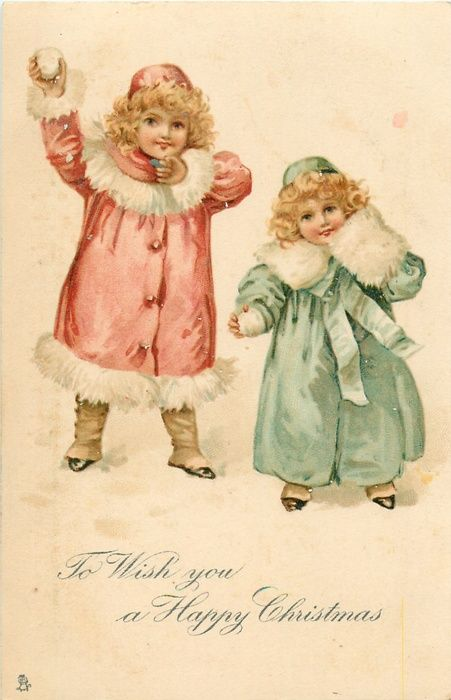 To Wish you a Happy Christmas ~ 2 girls in winter clothes with snowballs