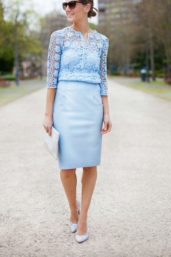 A PENCIL MIDI SKIRT AND LACE BLOUSE  Keep the classic black numbers in the boardroom, but bust out a calf-length pastel style (and team with a sheer top) for a total wedding redux.