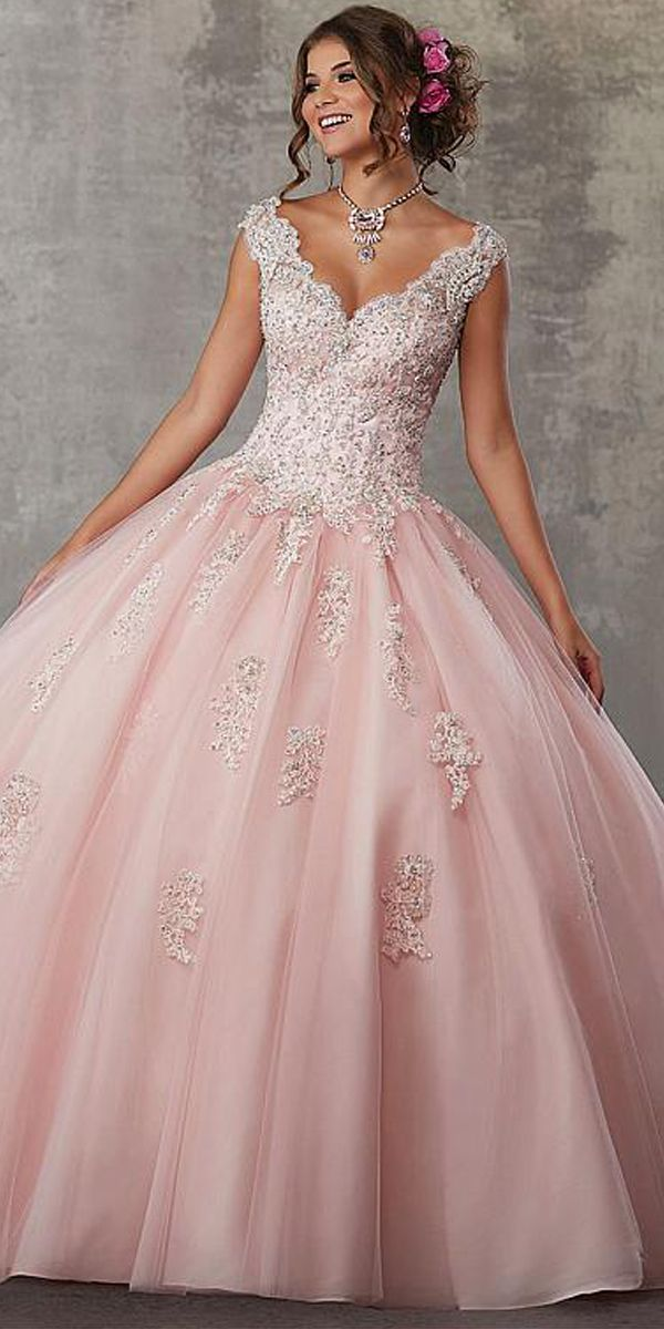 d5f27d920f10 Stunning Tulle V-neck Neckline Ball Gown Quinceanera Dress With Beaded Lace  Appliques