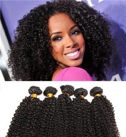 100% virgin brasilianisches Menschliches Haar Kinky Curly Haar Extensions 3 Bundles Mischungslänge (14''16''18'')- Natürliches Schwarz (#1b)