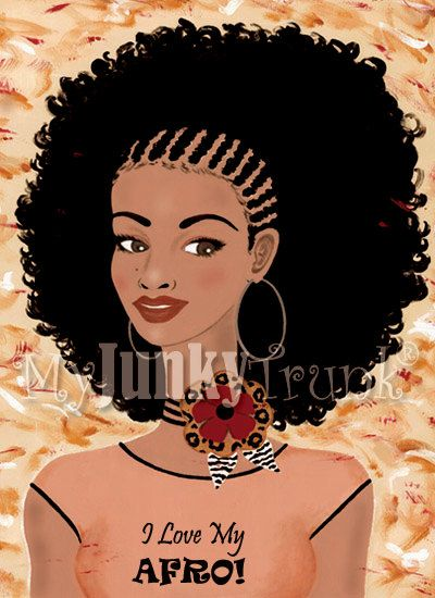 I+Love+My+AFRO+Afro+Natural+Hair+8.5x11+Print+by+MyJunkyTrunk,+$15.00
