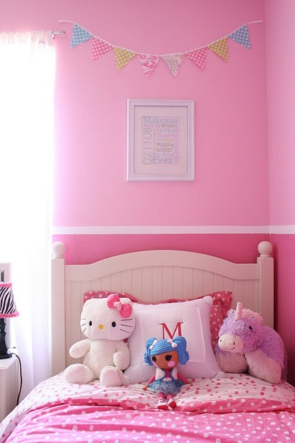 Two Tones Of Pink With A Painted Border Bedroom