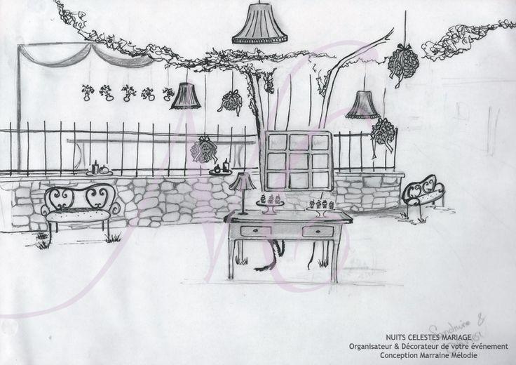 Croquis r alis par nuits c lestes mariage wedding for Decorateur bordeaux