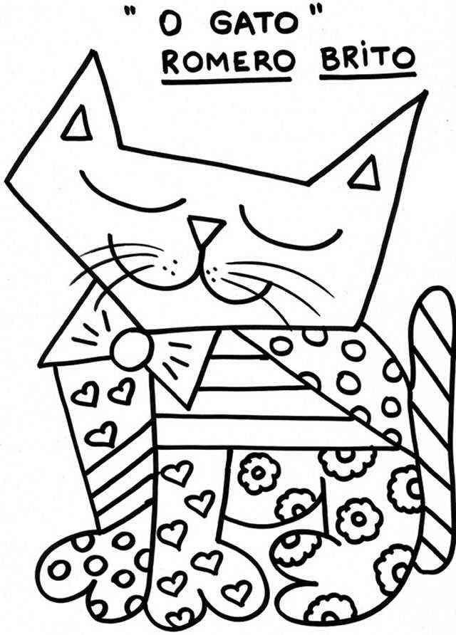 Romero Britto para colorir - Gato  - artes visuais - desenho - pintura - escultura - infantil