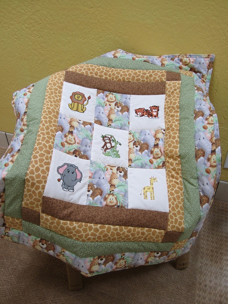 21 best jungle themed baby quilt images on Pinterest | Baby ... : jungle theme baby quilt patterns - Adamdwight.com