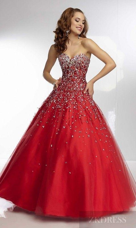 Elegant Natural Long Sleeveless Red Sweetheart Prom Dress