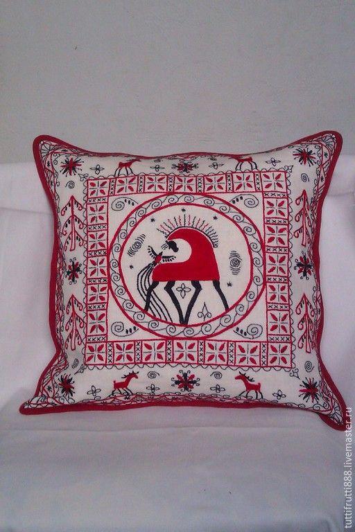 Купить Декоративная наволочка в русском стиле Красный конь - ярко-красный, конь, мезенская роспись