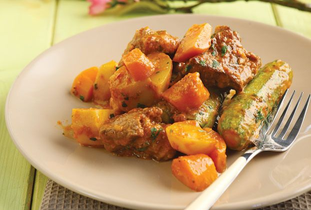 Beef Casserole is a classic-fantastic Sunday dish with juicy and nutritious veggies like zucchini and carrots. Serve with country bread to make a perfect meal.