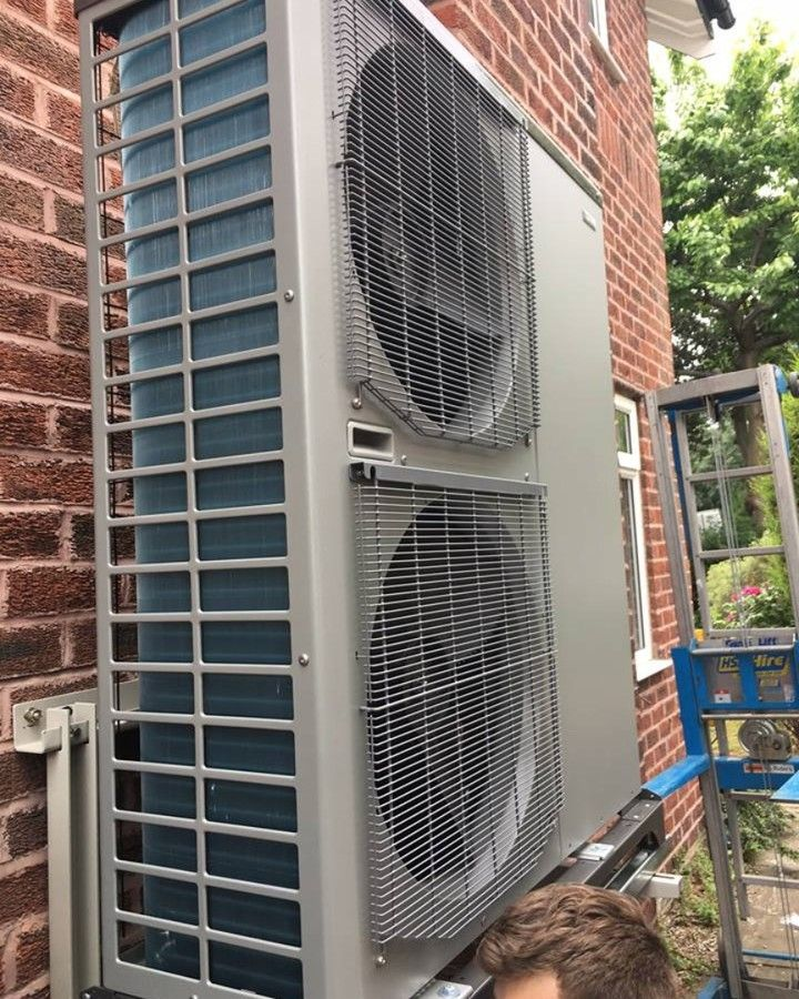 Air Source Heat Pumps use the latent heat energy in the air which is compressed and converted into useful heat energy for central heating and hot water