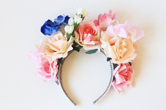 pink cream and periwinkle rose crown headband // by kisforkani