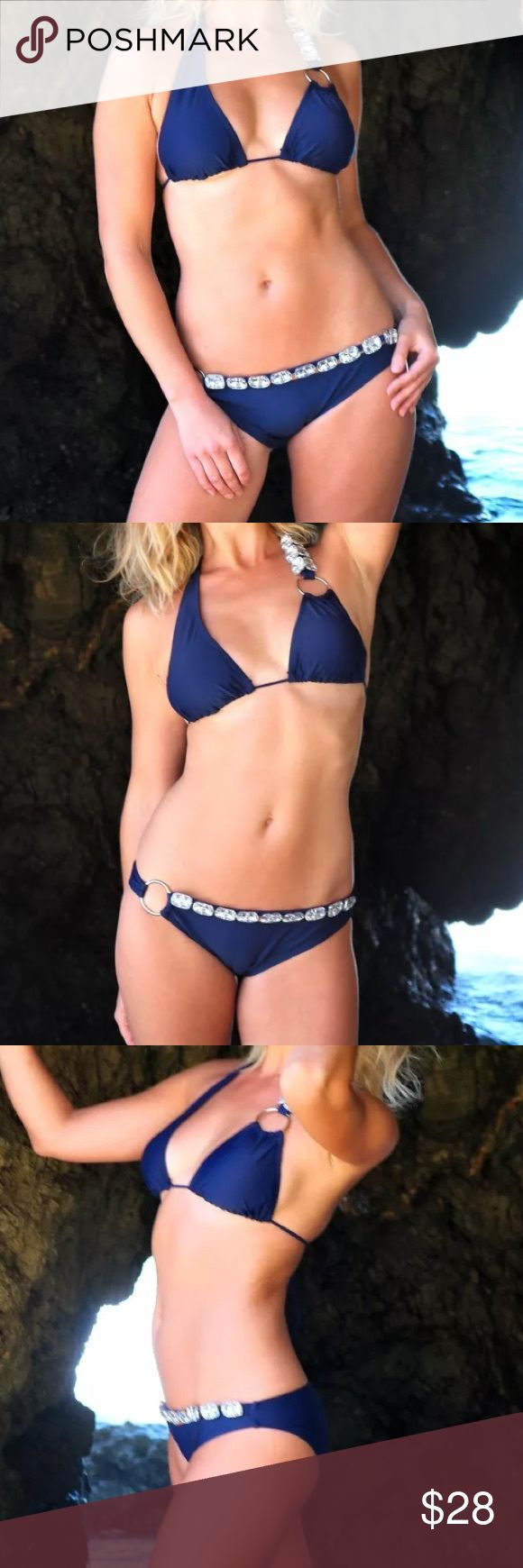 "Push up bikinis cute bikinis blue bikinis These are very unique and sexy push up bikini sets. The bikini set is navy blue in color, and the shoulder strap as well as the waist band are decorated with large crystals.   S / M (US size: 4 - 8)  Bust: 34"" - 35"" Waist: 26"" - 27"" Hip: 36"" - 39""  L (US size: 10 - 12)  Bust: 36.5"" - 38"" Waist: 28"" - 29.5"" Hip: 38.5"" - 40""  Follow us on Instagram: www.instagram.com/sassy.cool/  SHIPPING  This item is ready to ship within 1-2 business days from the…"