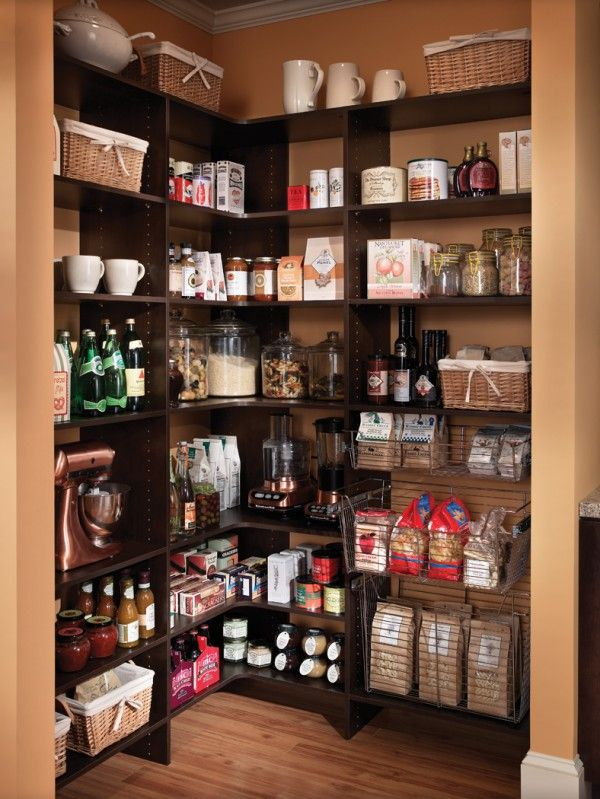 Enchanting Kitchen Pantry Closet Shelving with Corner Open Pantry Organization Ideas and Unfinished Wood Flooring for Kitchen