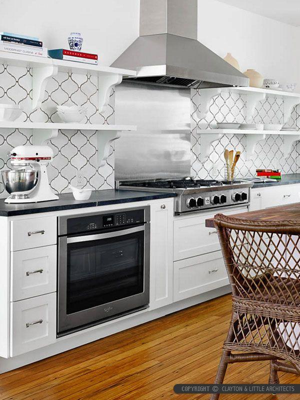 BA311526-White Ceramic-Arabesque-Tile-with-White-Kitchen