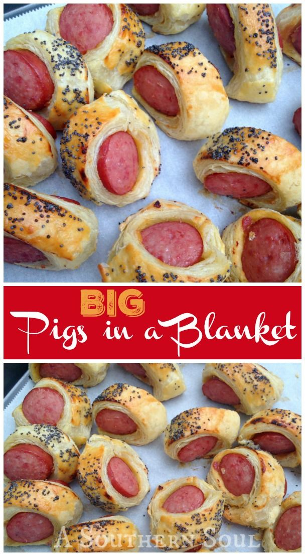BIG pigs in a blanket made with smoked kielbasa, mustard wrapped in puffed pastry with a poppy seed topping ~ an adult version of a childhood favorite treat.