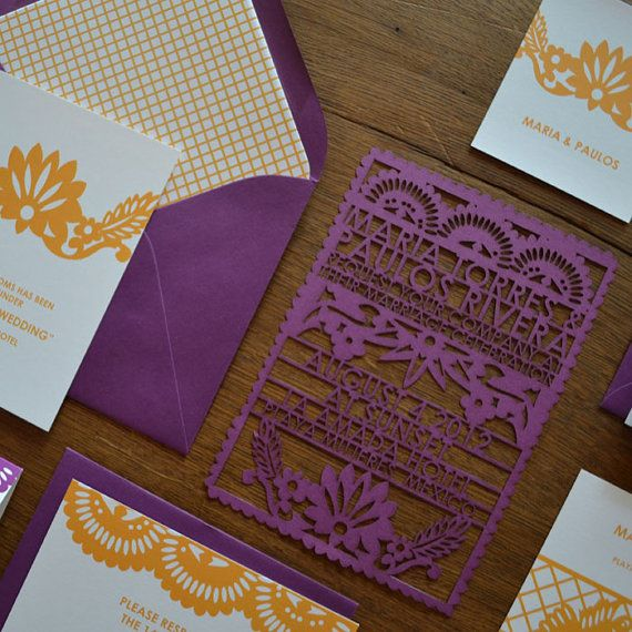 Papel Picado Laser Cut Wedding Invitation by avie on Etsy, $100.00