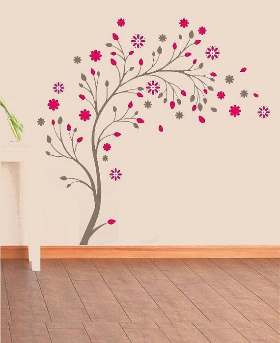 Designer Tree Flower Wall Sticker Decal Removable Vinyl Home Decor Kids Nursery Room Baby Shower Gift Wall Art Mural Room Ideas 7156L