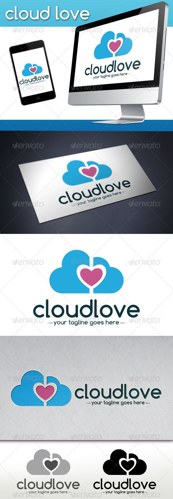 Cloud Love Logo Template  #GraphicRiver         - Three color version: color, greyscale and single color.   - The logo is 100% resizable.   - You can change text and colors very easy using the named and organized layers that includes the file.   - The typography used is comfortaa you can download here:  .dafont /es/comfortaa.font       Created: 20January13 GraphicsFilesIncluded: VectorEPS #AIIllustrator Layered: Yes MinimumAdobeCSVersion: CS Resolution: Resizable Tags: app #chat #cloudlogo…