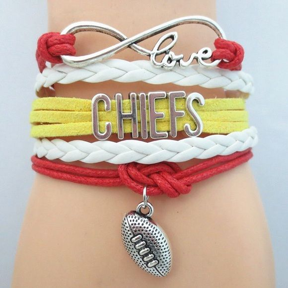 Kansas City Chiefs Football Team Bracelet → gorgeous handcrafted bracelet  → measures approx 7 inches with 2 inches extender, lobster clasp closure, made with alloy  → color may be slightly different from the actual item due to the lighting Jewelry Bracelets