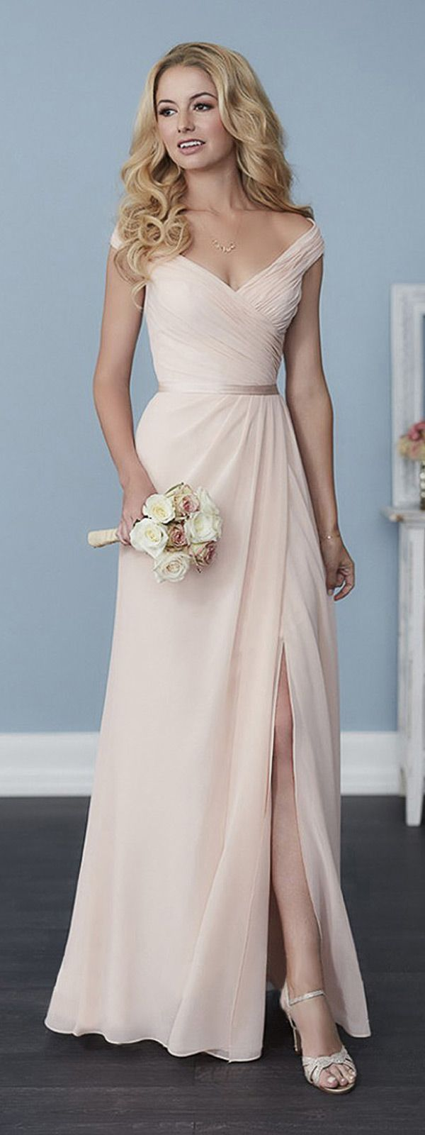 Elegant Chiffon Off-the-shoulder Neckline A-line Bridesmaid Dresses With Belt & Slit
