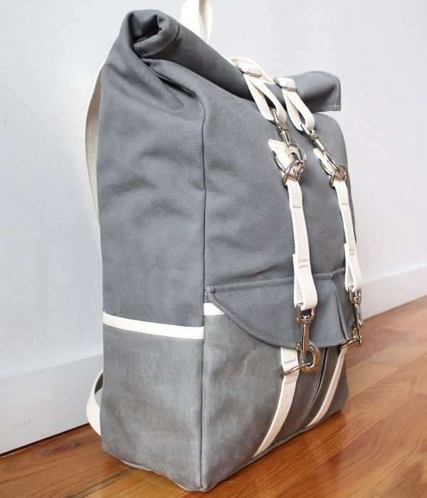 Roll Top Canvas Backpack, side