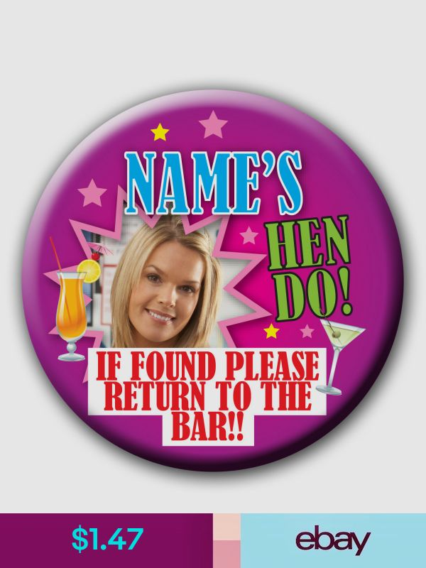 Personalised Photo Hen Cocktail Badges-58mm /& 77mm pink black turquoise purple