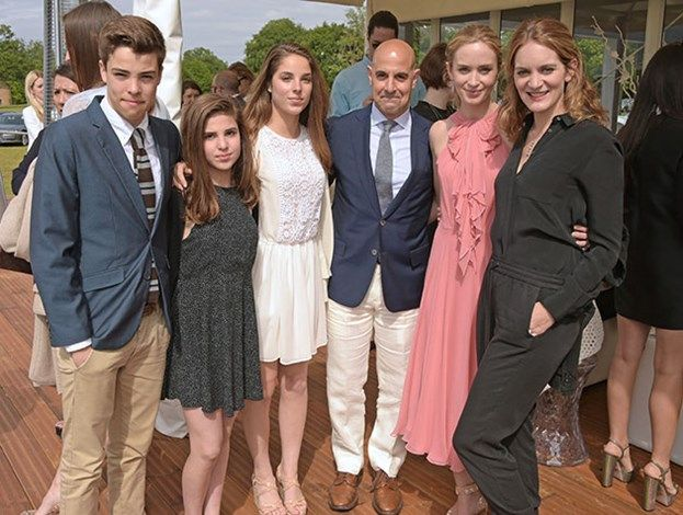 Actor Stanley Tucci Poses With His Family Actress Emily