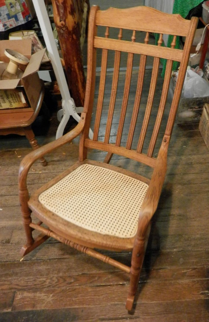 Antique oak rocking chair - Oak Rocking Chair I Just Caned