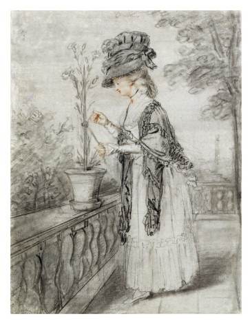 Lady on a Terrace Tending a Carnation Plant (Black, Red and White Chalk on Paper) by John Raphael Smith