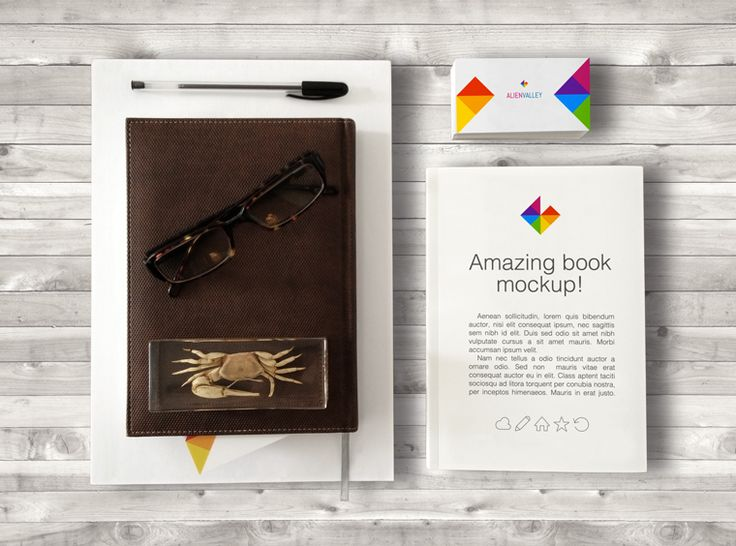 Book & Business Card Mockup