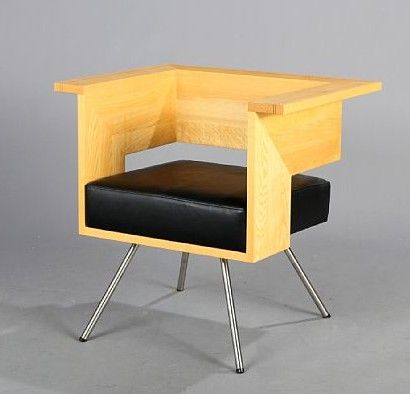 Unknown Designer: Cubic Shaped Ash Armchair With Angled Steel Legs, Seat  With Black Leather