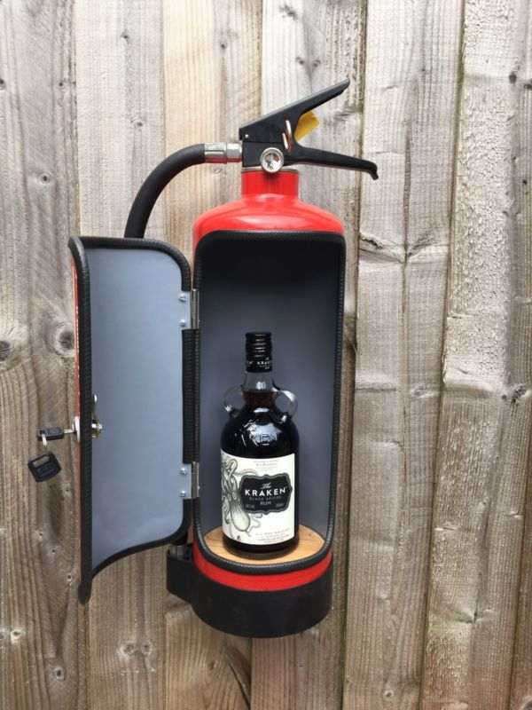 Novelty Upcycled Fire Extinguisher Mini Bar Recycled Man Cave Gift