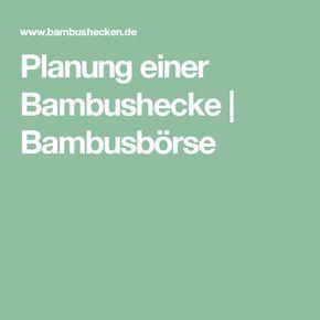 Planung einer Bambushecke   Bambusbörse