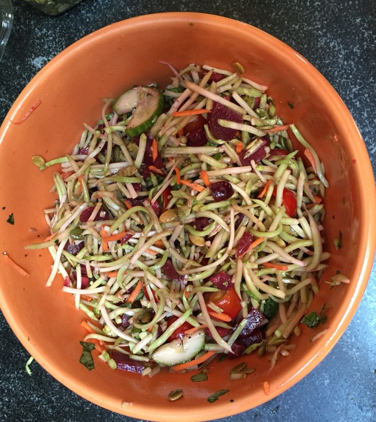 Try this nutrition powerhouse salad. In 10 minutes.  A great make ahead broccoli slaw salad includes beets, cherries, tomatoes, cucumbers, pumpkinseed, basil, olive oil and lemon, salt & pepper to garnish.